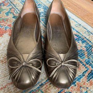 Salvatore Ferragamo bronze ballet shoes